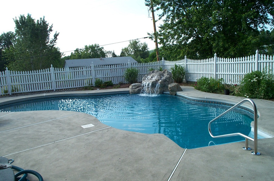 Pool and waterfall in Sussex County NJ